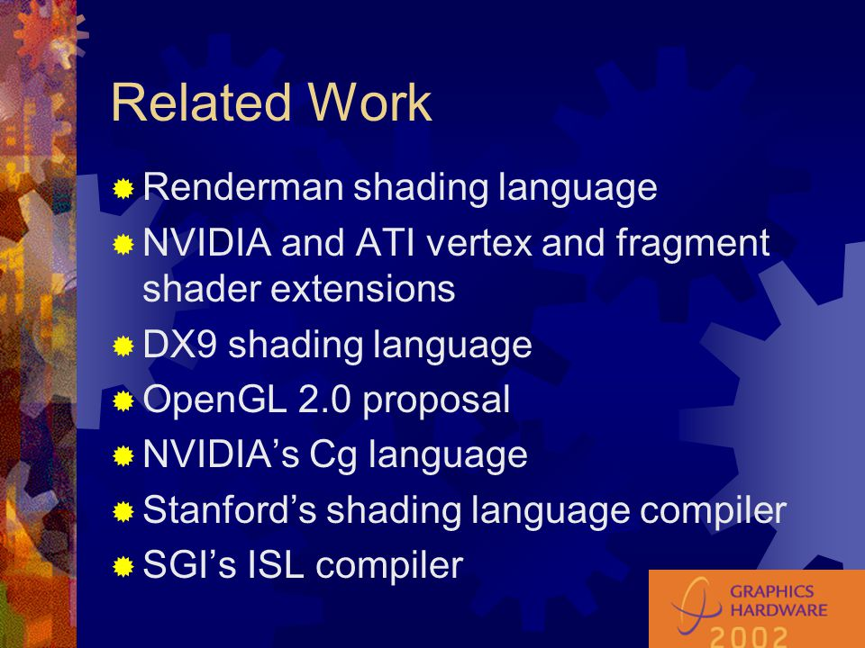 Testbed Architecture  Used SMASH (actually, Sm) as initial compiler target  Basically DX9 assembly language plus  noise functions  jumps  conditional branches  Function-call based API so machine code can be generated on the fly  Infinite register model (virtual machine)  Sm as intermediate language?