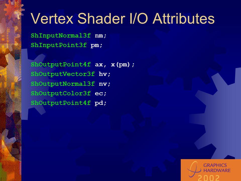Vertex Shader I/O Attributes ShInputNormal3f nm; ShInputPoint3f pm; ShOutputPoint4f ax, x(pm); ShOutputVector3f hv; ShOutputNormal3f nv; ShOutputColor3f ec; ShOutputPoint4f pd;
