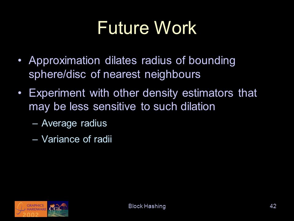 Block Hashing42 Future Work Approximation dilates radius of bounding sphere/disc of nearest neighbours Experiment with other density estimators that may be less sensitive to such dilation –Average radius –Variance of radii