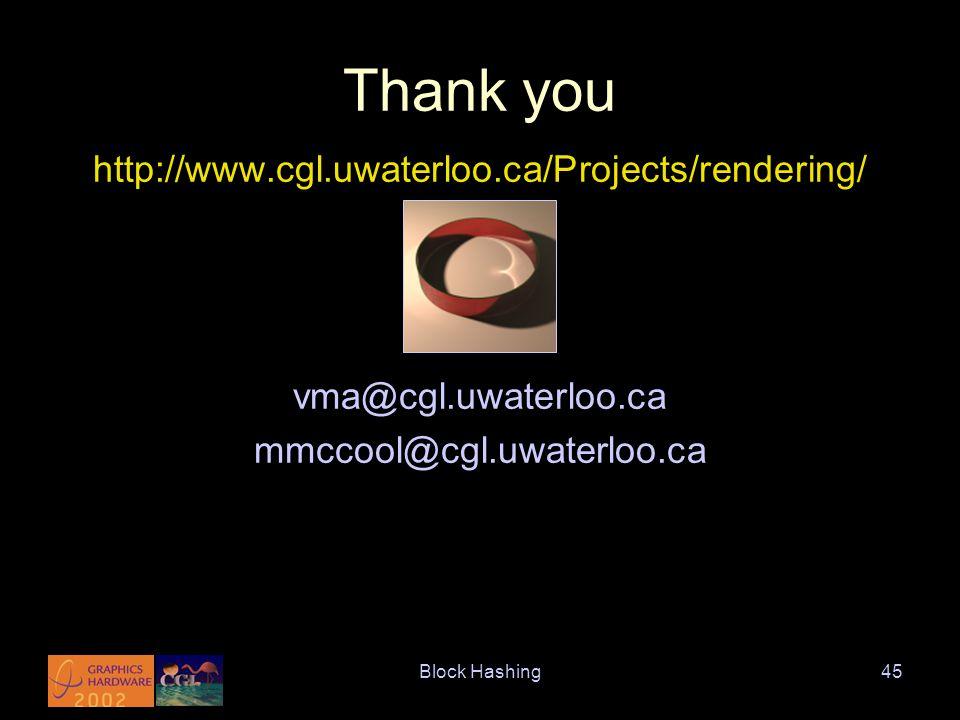 Block Hashing45 Thank you http://www.cgl.uwaterloo.ca/Projects/rendering/ vma@cgl.uwaterloo.ca mmccool@cgl.uwaterloo.ca