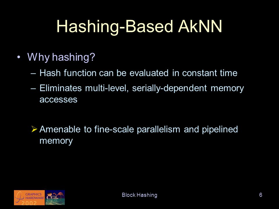 Block Hashing6 Hashing-Based AkNN Why hashing.