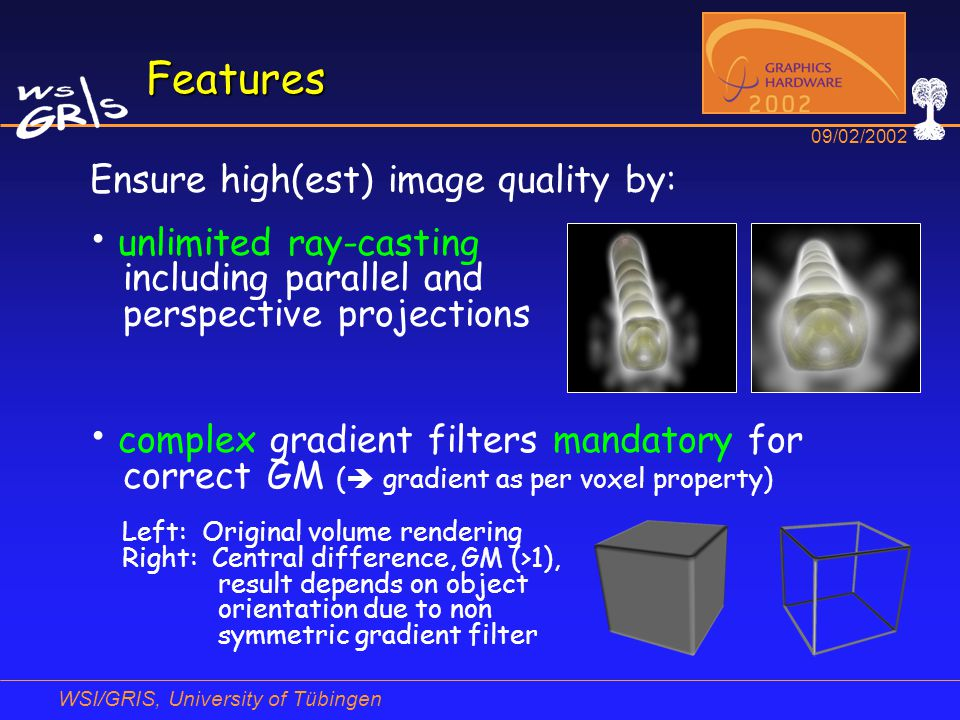 WSI/GRIS, University of Tübingen 09/02/2002 Features Ensure high(est) image quality by: unlimited ray-casting including parallel and perspective proje