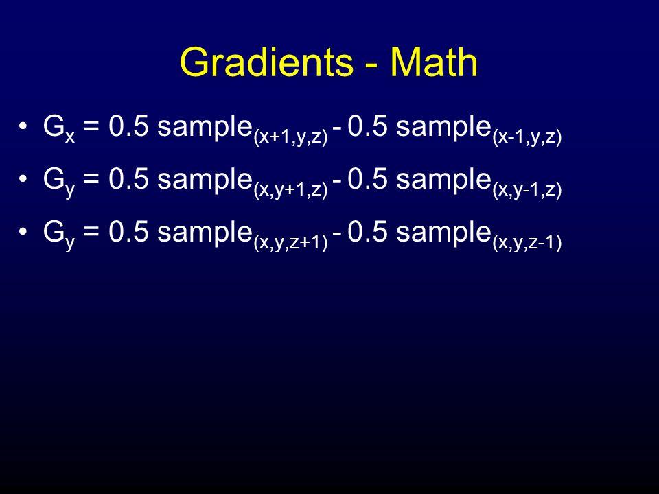 Gradients - Math G x = 0.5 sample (x+1,y,z) - 0.5 sample (x-1,y,z) G y = 0.5 sample (x,y+1,z) - 0.5 sample (x,y-1,z) G y = 0.5 sample (x,y,z+1) - 0.5