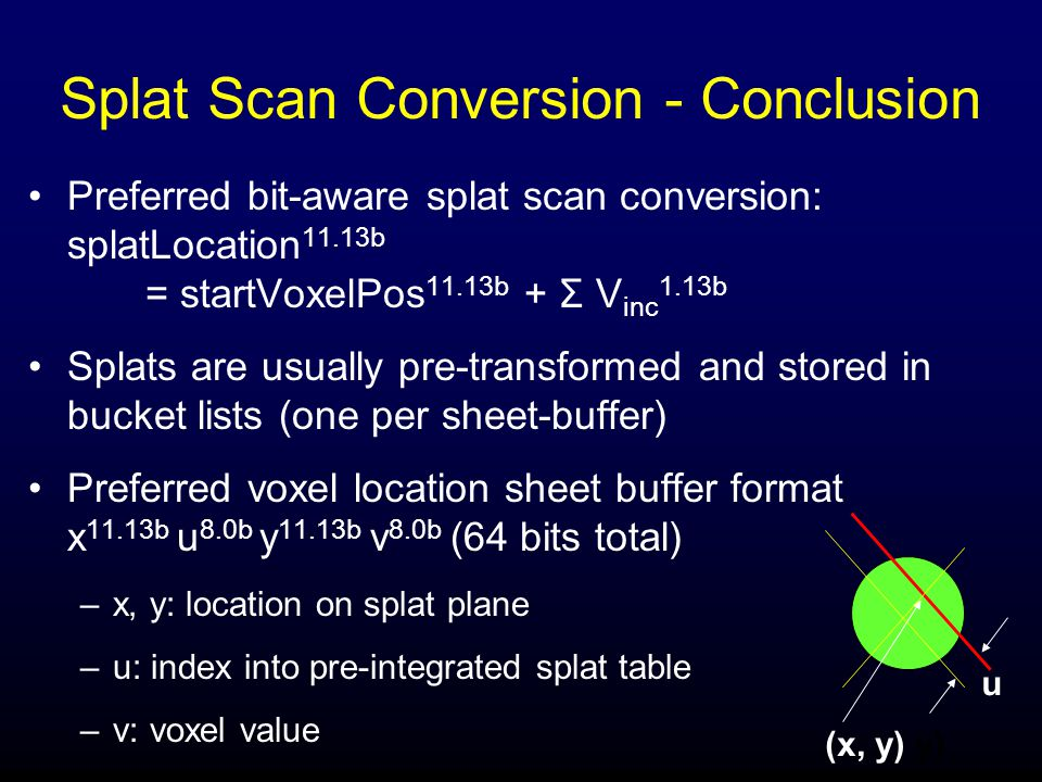 Splat Scan Conversion - Conclusion Preferred bit-aware splat scan conversion: splatLocation 11.13b = startVoxelPos 11.13b + Σ V inc 1.13b Splats are usually pre-transformed and stored in bucket lists (one per sheet-buffer) Preferred voxel location sheet buffer format x 11.13b u 8.0b y 11.13b v 8.0b (64 bits total) –x, y: location on splat plane –u: index into pre-integrated splat table –v: voxel value (x, y) y) u