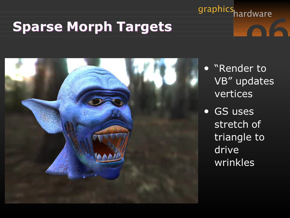 "Sparse Morph Targets ""Render to VB"" updates vertices GS uses stretch of triangle to drive wrinkles"