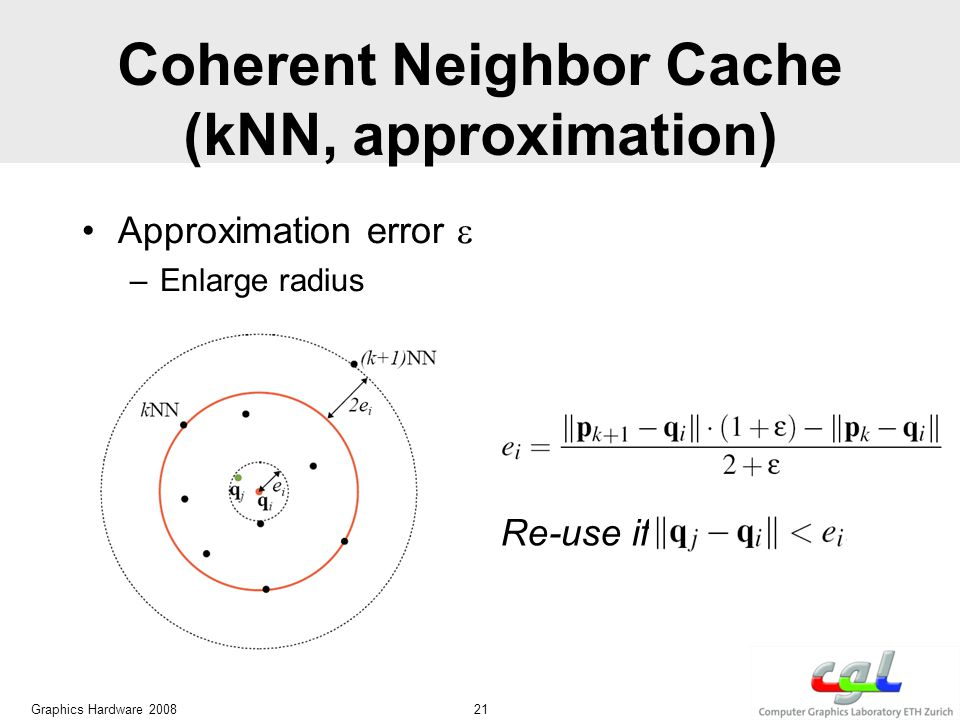 Coherent Neighbor Cache (kNN, approximation) Approximation error  –Enlarge radius Graphics Hardware 2008 21 Re-use if