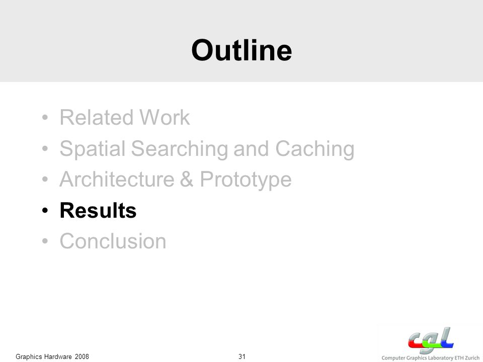 Outline Related Work Spatial Searching and Caching Architecture & Prototype Results Conclusion Graphics Hardware 2008 31