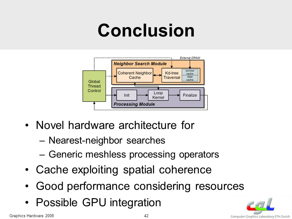 Conclusion Novel hardware architecture for –Nearest-neighbor searches –Generic meshless processing operators Cache exploiting spatial coherence Good performance considering resources Possible GPU integration Graphics Hardware 2008 42