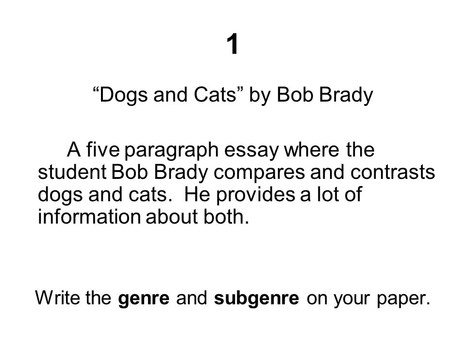 "1 ""Dogs and Cats"" by Bob Brady A five paragraph essay where the student Bob Brady compares and contrasts dogs and cats. He provides a lot of informati"