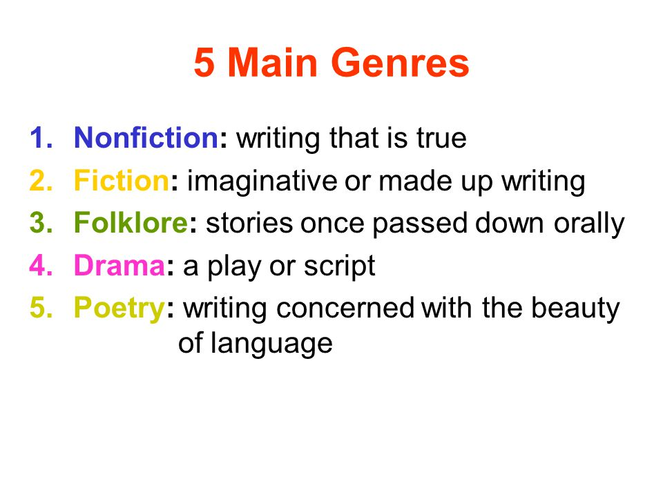 5 Main Genres 1.Nonfiction: writing that is true 2.Fiction: imaginative or made up writing 3.Folklore: stories once passed down orally 4.Drama: a play