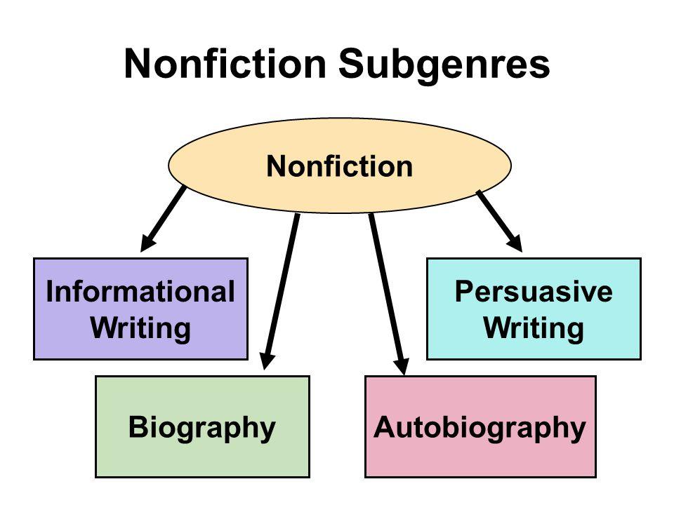 Nonfiction Subgenres Nonfiction Informational Writing BiographyAutobiography Persuasive Writing