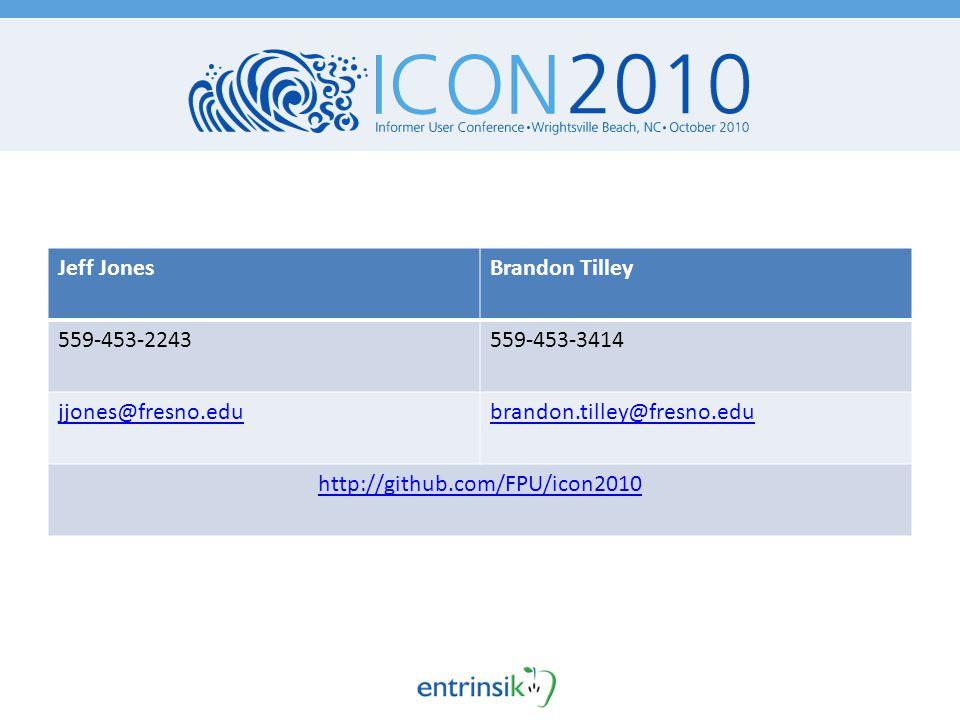 Jeff JonesBrandon Tilley 559-453-2243559-453-3414 jjones@fresno.edubrandon.tilley@fresno.edu http://github.com/FPU/icon2010
