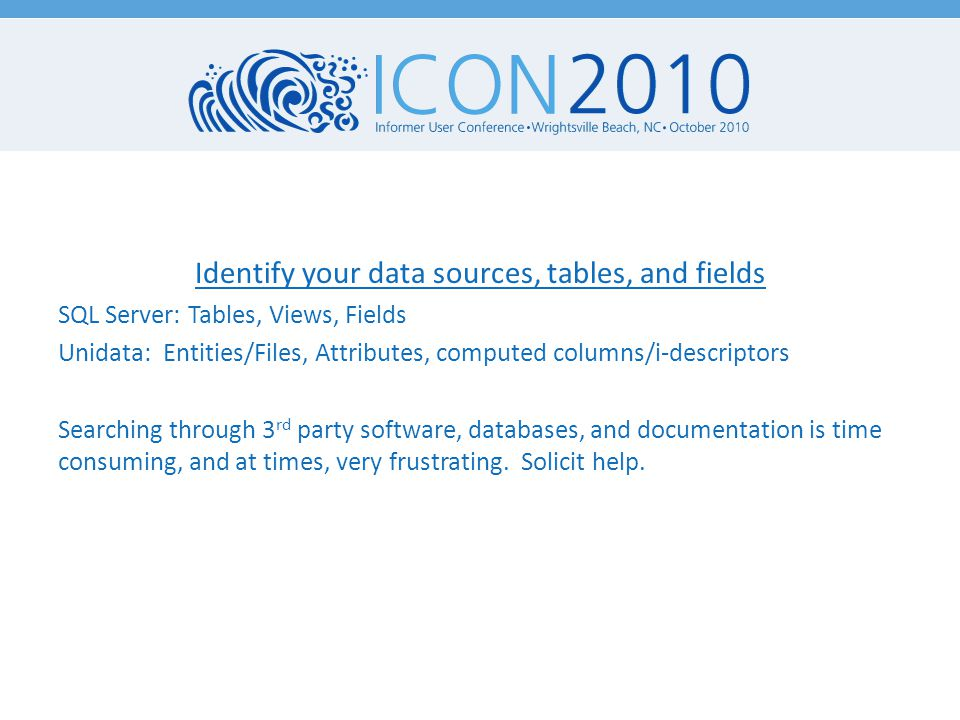 Blackboard Data Sources USERS – pk1 – user_id COURSE_MAIN – pk1 – users_pk1 – course_id – batch_uid COURSE_USERS – crsmain_pk1 – last_access_date Datatel Data Sources PERSON – @ID – SSN, LAST.NAME, FIRST.NAME STUDENT.COURSE.SECTION – SCS.STUDENT – X.SCS.SYNONYM – SCS.REG.METH COURSE.SECTIONS – SEC.TERM – SEC.SUBJECT, SEC.COURSE.NO, SEC.START.DATE, SEC.END.DATE, SEC.NAME COURSE.SEC.FACULTY – CSF.FACULTY