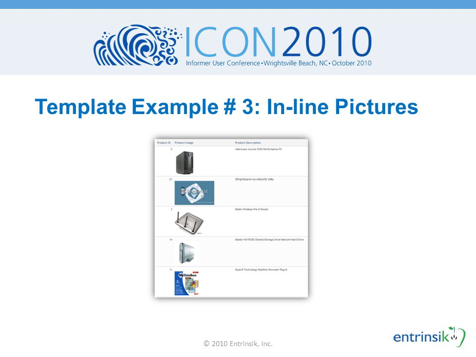 Template Example # 3: In-line Pictures © 2010 Entrinsik, Inc.