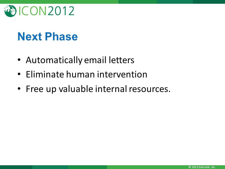 © 2012 Entrinsik, Inc. Next Phase Automatically email letters Eliminate human intervention Free up valuable internal resources.