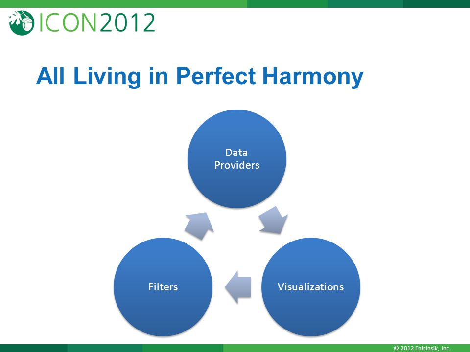 © 2012 Entrinsik, Inc. All Living in Perfect Harmony Data Providers VisualizationsFilters
