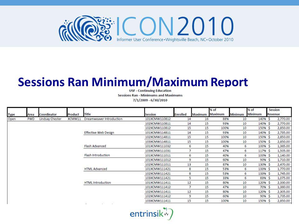 Sessions Ran Minimum/Maximum Report