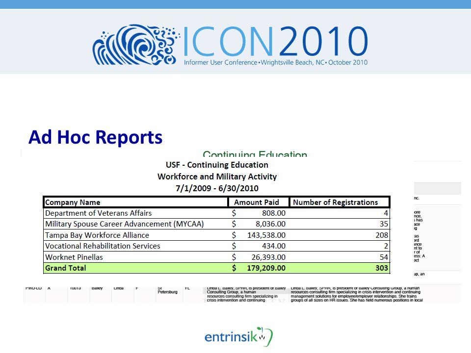 Ad Hoc Reports