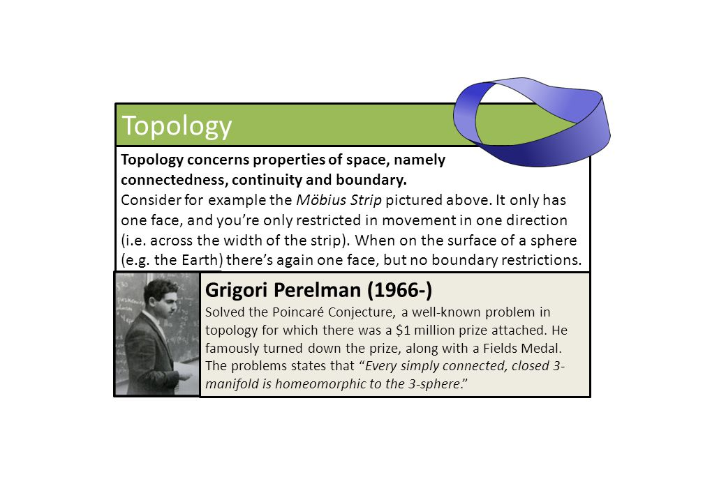 Topology Topology concerns properties of space, namely connectedness, continuity and boundary. Consider for example the Möbius Strip pictured above. I