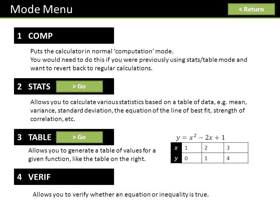 Mode Menu < Return 1 COMP Puts the calculator in normal 'computation' mode.