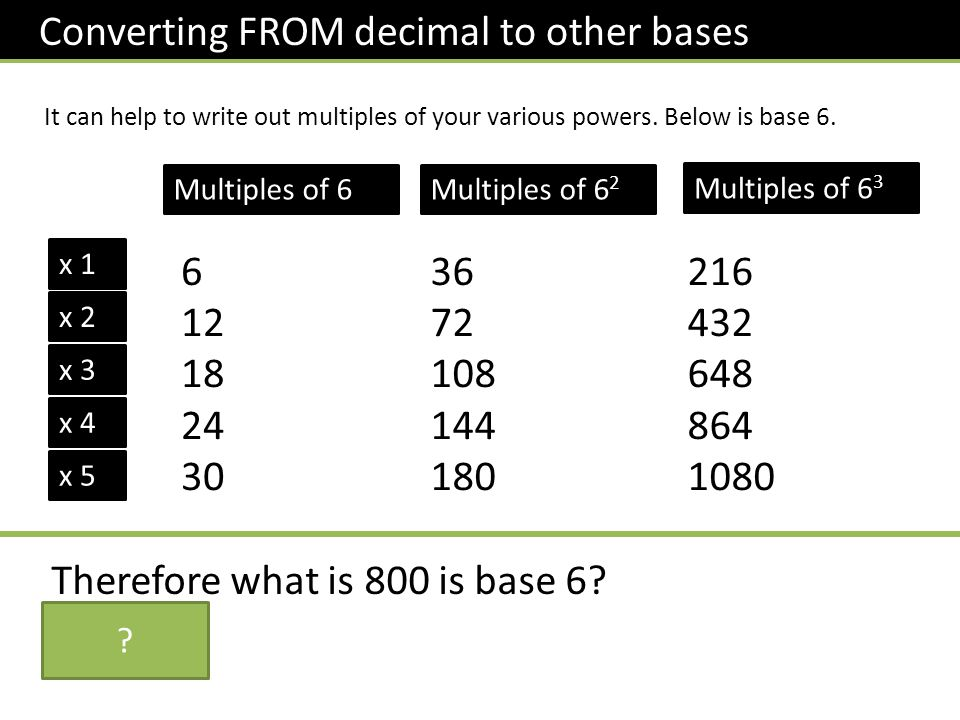 Converting FROM decimal to other bases It can help to write out multiples of your various powers.