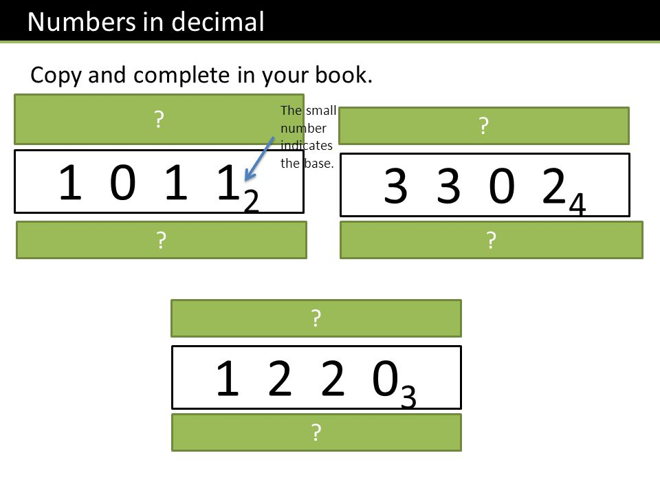 Numbers in decimal Copy and complete in your book.