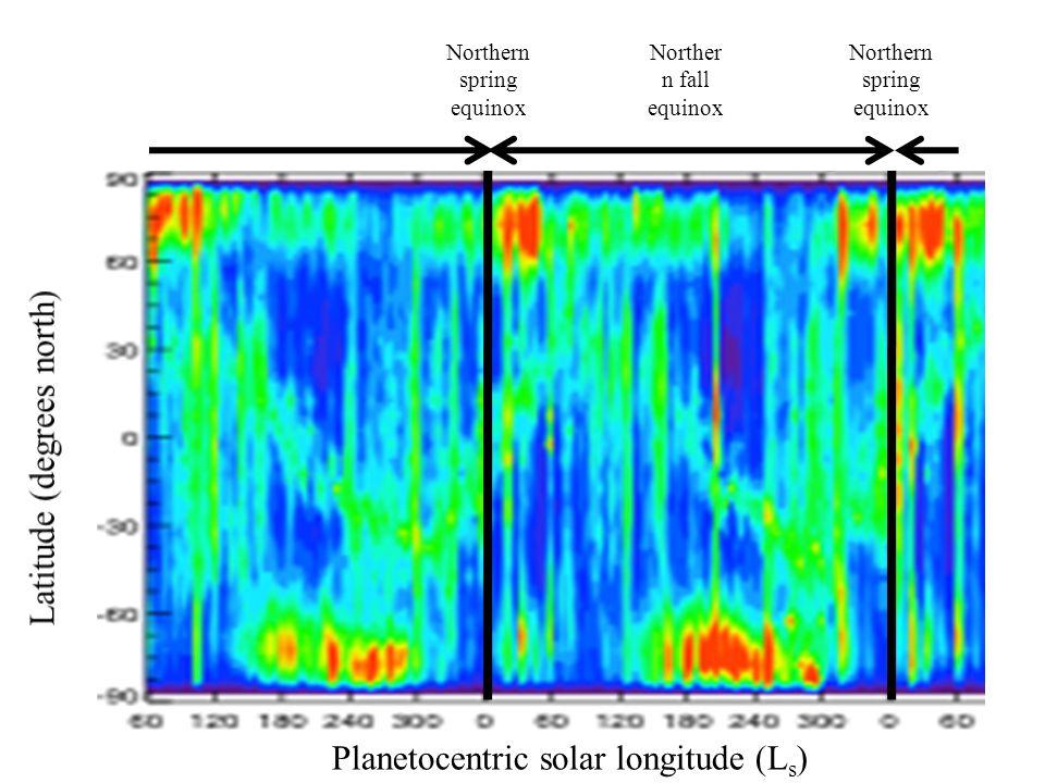 Planetocentric solar longitude (L s ) Northern spring equinox Norther n fall equinox Northern spring equinox