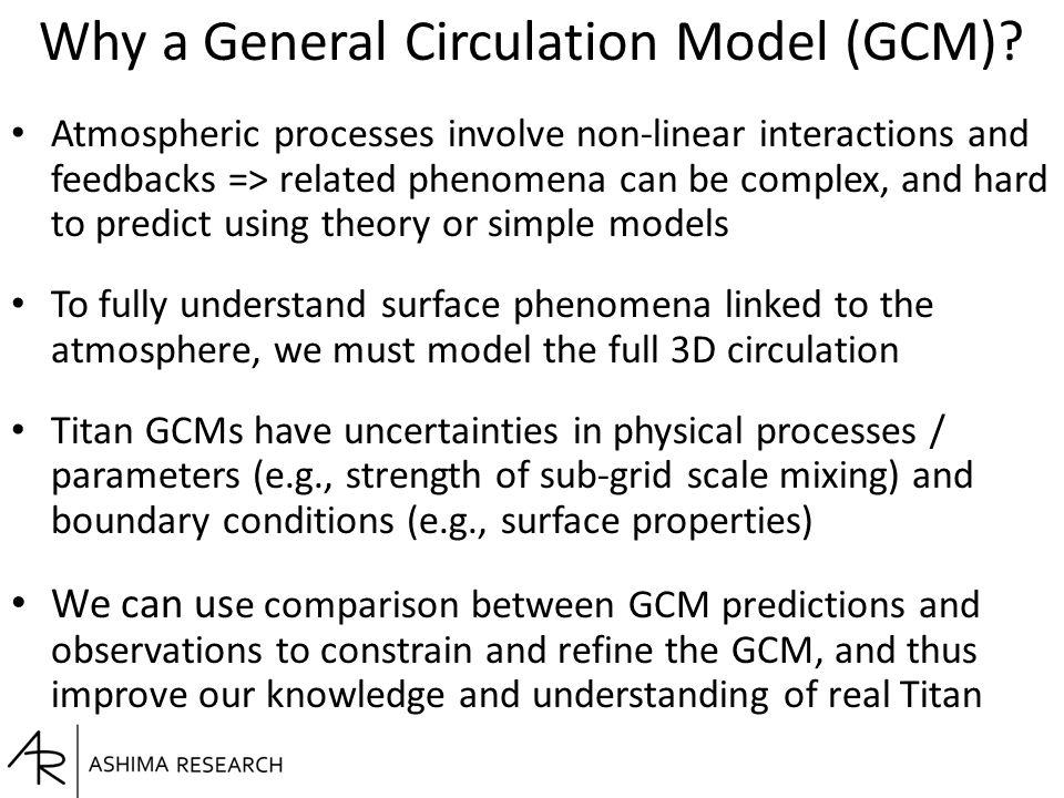 Why a General Circulation Model (GCM).