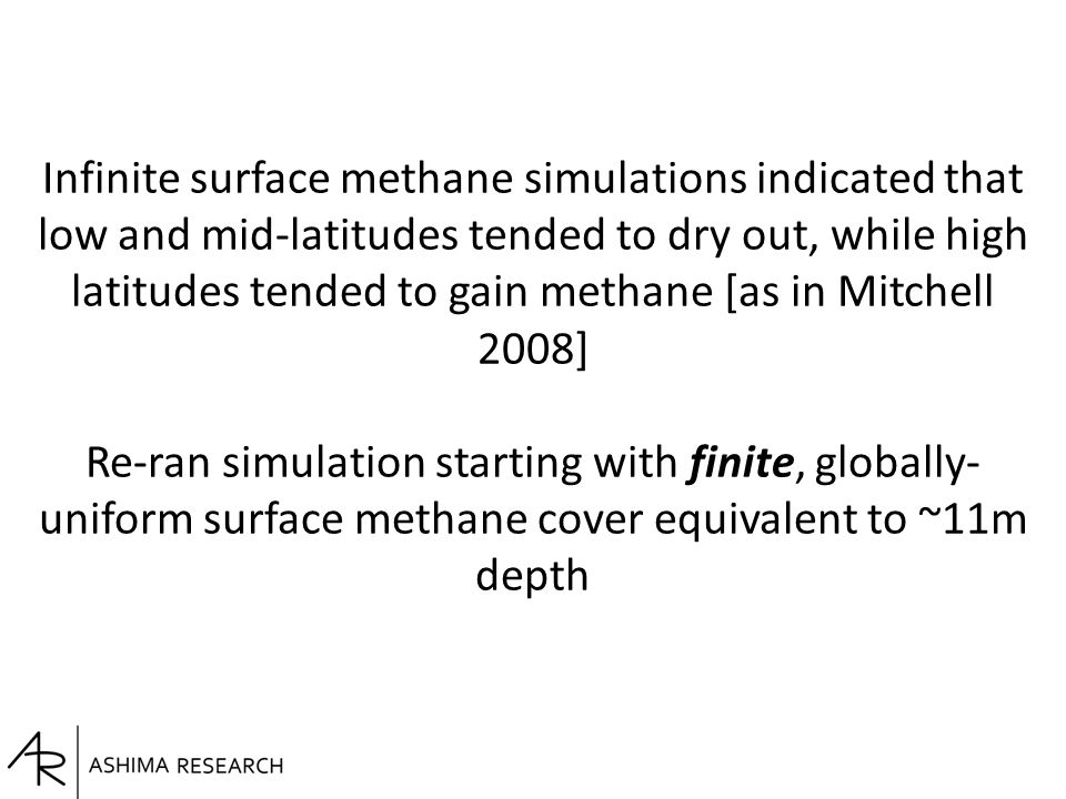 Infinite surface methane simulations indicated that low and mid-latitudes tended to dry out, while high latitudes tended to gain methane [as in Mitche