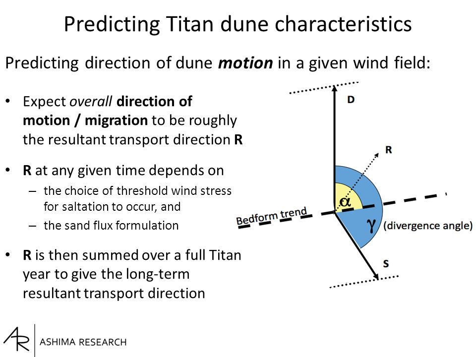 Predicting Titan dune characteristics Expect overall direction of motion / migration to be roughly the resultant transport direction R R at any given time depends on – the choice of threshold wind stress for saltation to occur, and – the sand flux formulation R is then summed over a full Titan year to give the long-term resultant transport direction Predicting direction of dune motion in a given wind field: