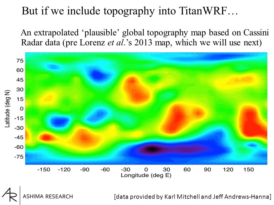 But if we include topography into TitanWRF… An extrapolated 'plausible' global topography map based on Cassini Radar data (pre Lorenz et al.'s 2013 map, which we will use next) [data provided by Karl Mitchell and Jeff Andrews-Hanna]