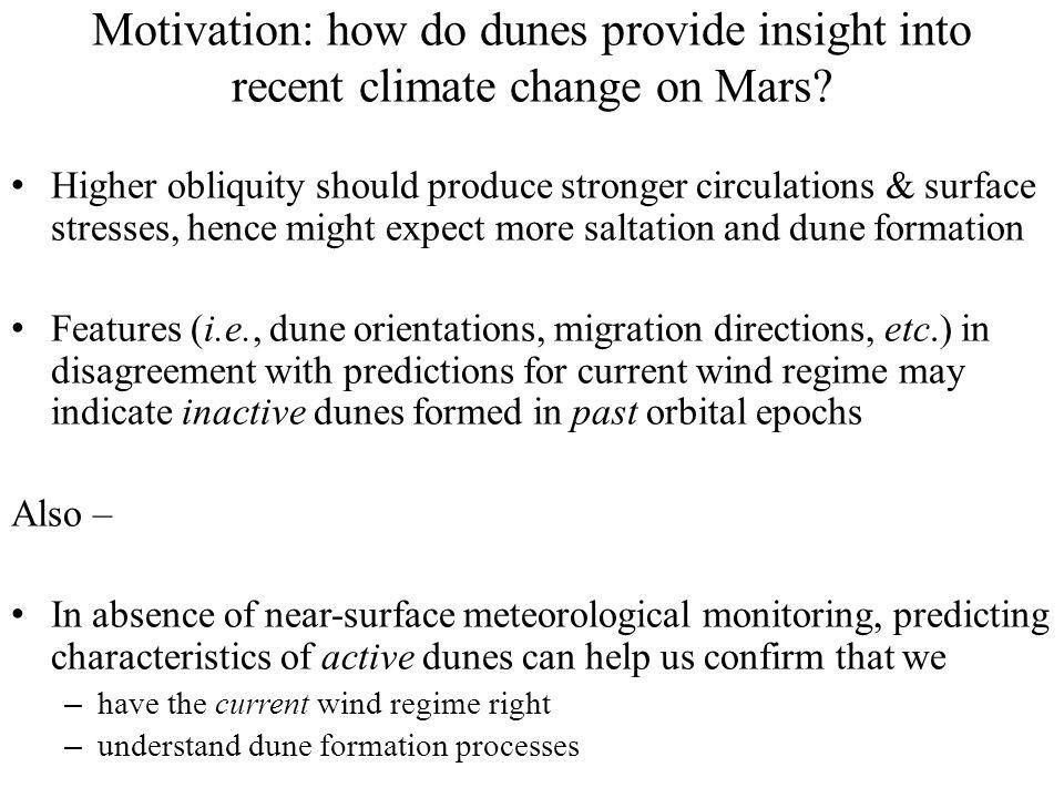 Gale dune studies – obliquity 35° No saltation thresholdThreshold = 0.007N/m 2 Threshold = 0.021N/m 2