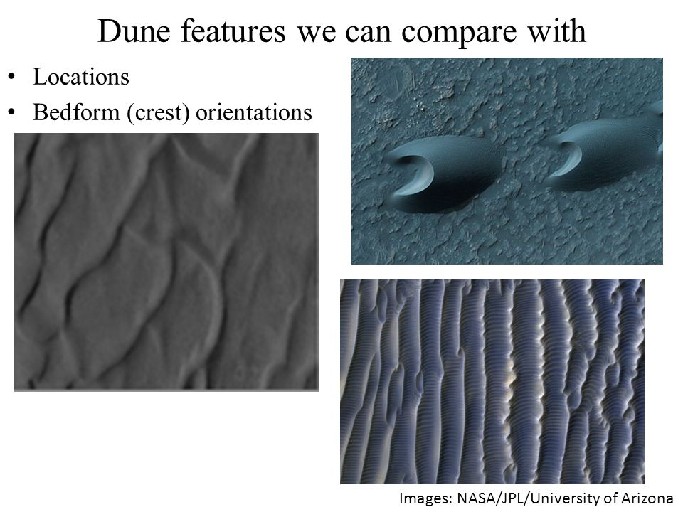 Locations Bedform (crest) orientations Images: NASA/JPL/University of Arizona Dune features we can compare with