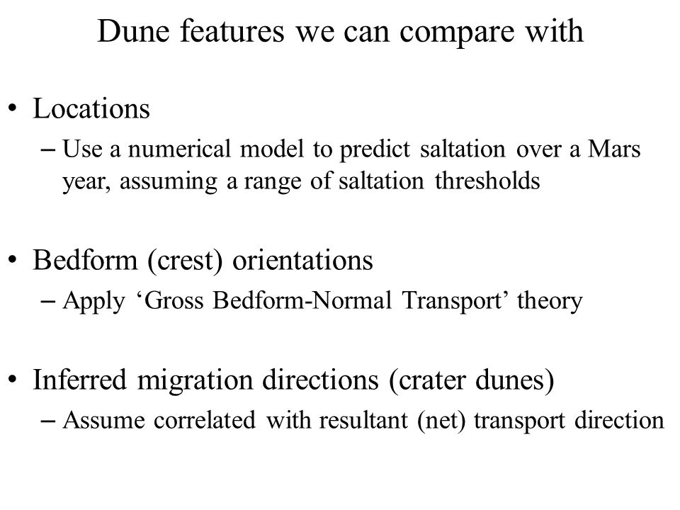 Present day global dune results comparing with Mars Global Digital Dune Database (MGD 3, e.g.