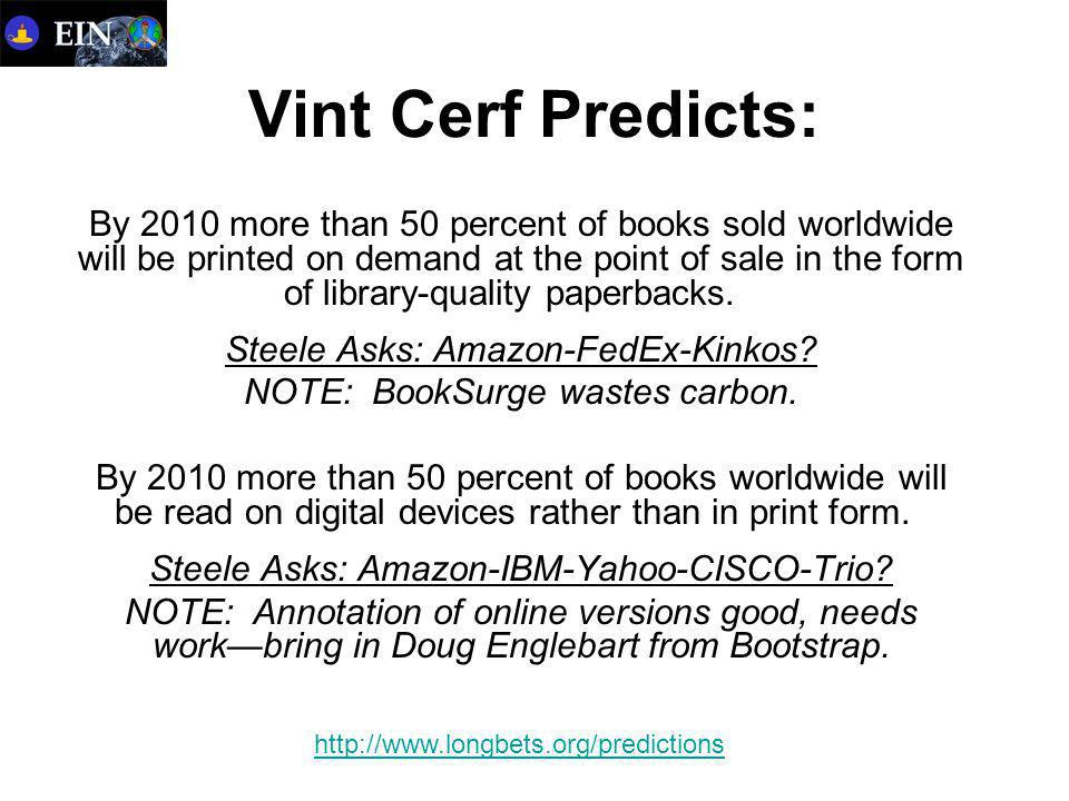 Vint Cerf Predicts: By 2010 more than 50 percent of books sold worldwide will be printed on demand at the point of sale in the form of library-quality paperbacks.