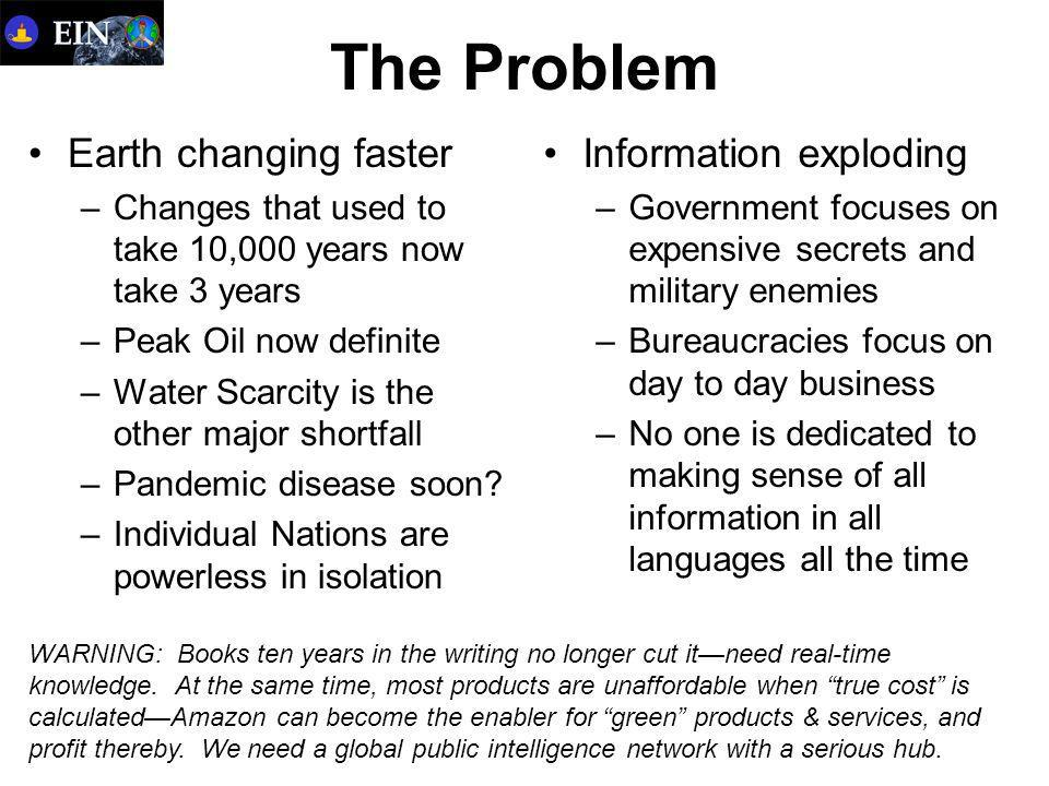 The Problem Earth changing faster –Changes that used to take 10,000 years now take 3 years –Peak Oil now definite –Water Scarcity is the other major shortfall –Pandemic disease soon.
