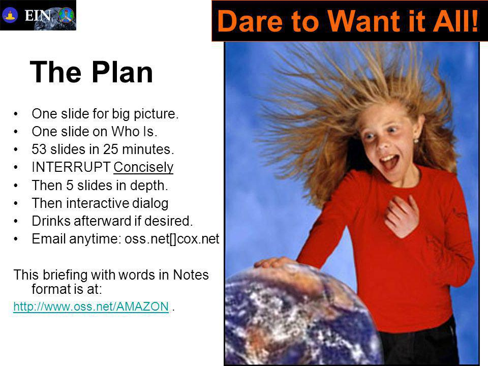 The Plan One slide for big picture.One slide on Who Is.
