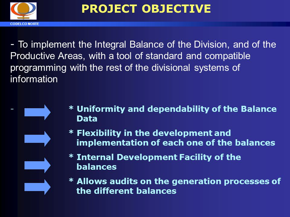 CODELCO NORTE AGENDA - PROJECT OBJECTIVES - PROJECT IMPLEMENTATION - SYSTEM STRUCTURE - ADVANCE OF THE PROJECT - FUTURE ACTIVITIES