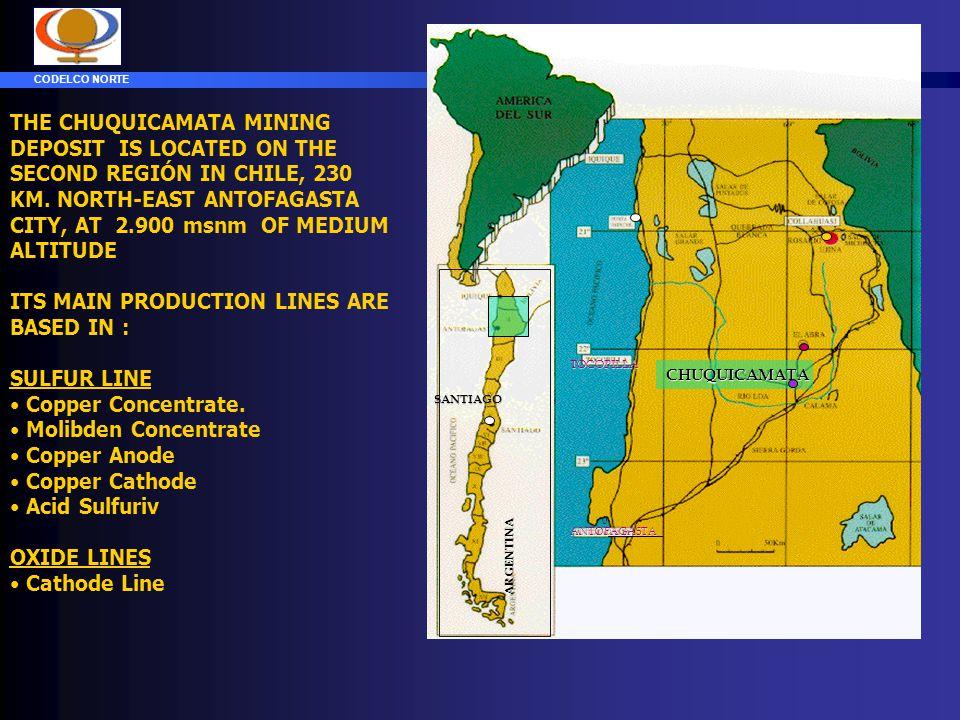 CODELCO NORTE ADVANCE OF THE PROJECT (achived) CONCENTRADORA FUNDICION REFINERIAS OXIDOS