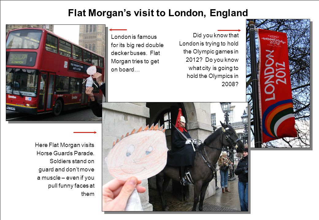 Flat Morgan's visit to London, England London is famous for its big red double decker buses.