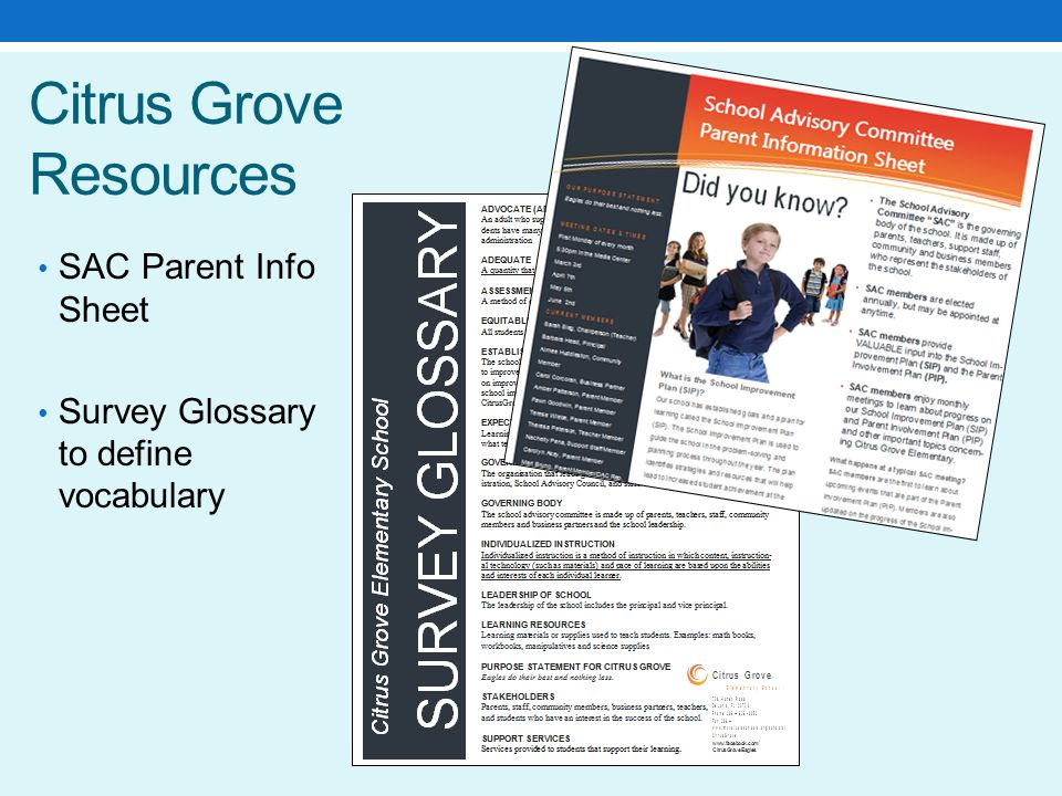 Citrus Grove Resources SAC Parent Info Sheet Survey Glossary to define vocabulary
