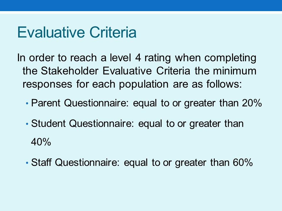 Evaluative Criteria In order to reach a level 4 rating when completing the Stakeholder Evaluative Criteria the minimum responses for each population are as follows: Parent Questionnaire: equal to or greater than 20% Student Questionnaire: equal to or greater than 40% Staff Questionnaire: equal to or greater than 60%