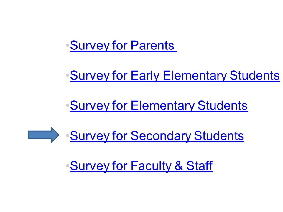 Survey for Parents Survey for Early Elementary Students Survey for Elementary Students Survey for Secondary Students Survey for Faculty & Staff