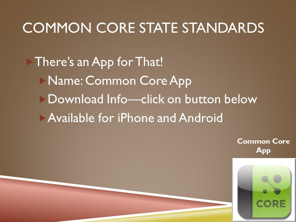 COMMON CORE STATE STANDARDS  There's an App for That.