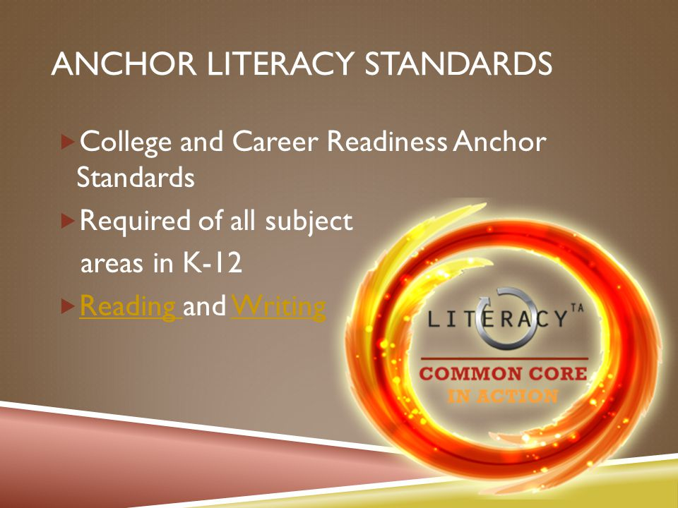 ANCHOR LITERACY STANDARDS  College and Career Readiness Anchor Standards  Required of all subject areas in K-12  Reading and Writing Reading Writing