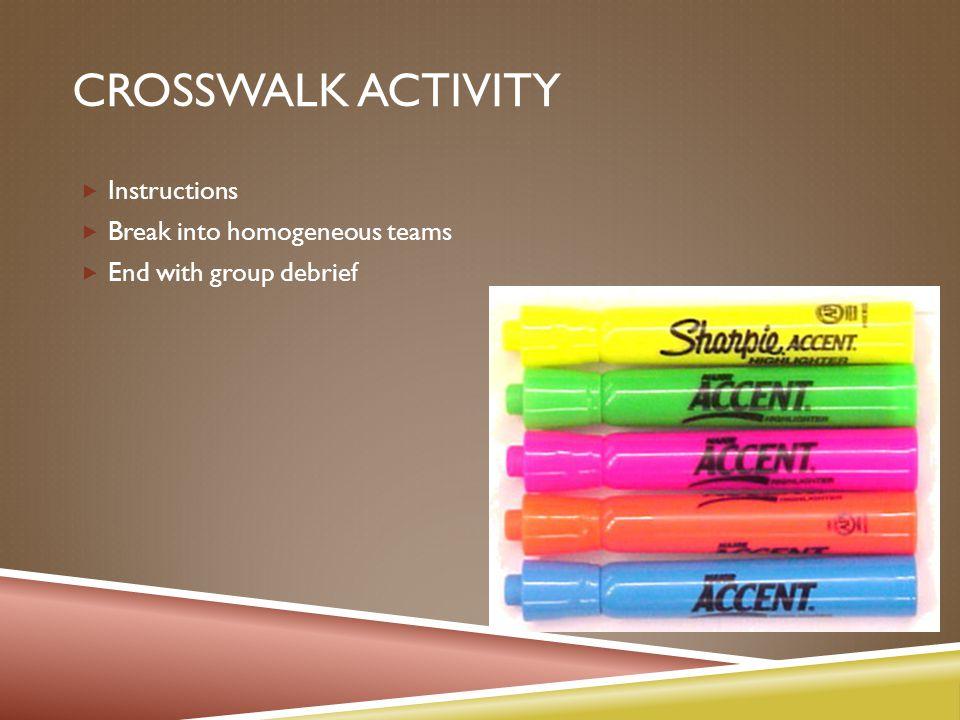 CROSSWALK ACTIVITY  Instructions  Break into homogeneous teams  End with group debrief