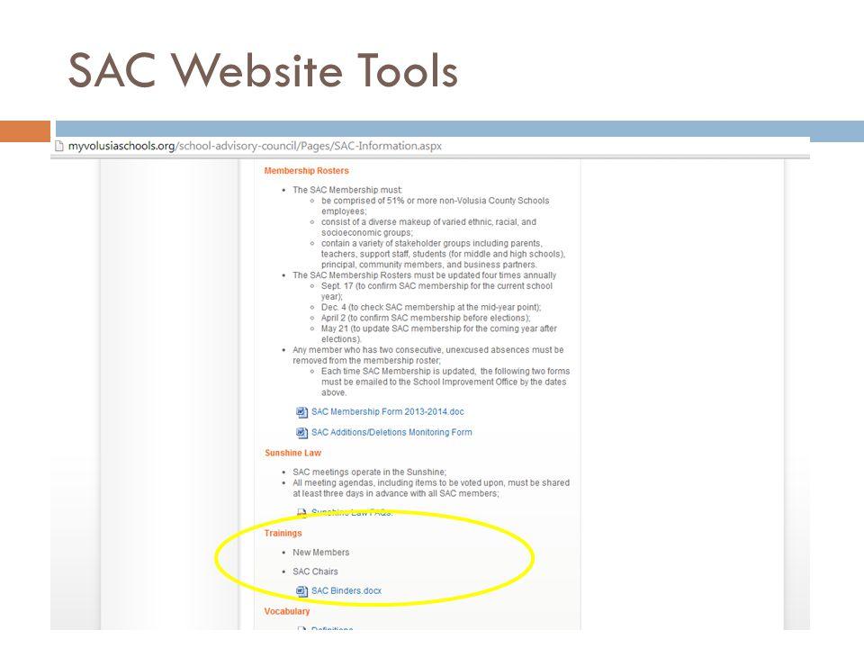 SAC Website Tools