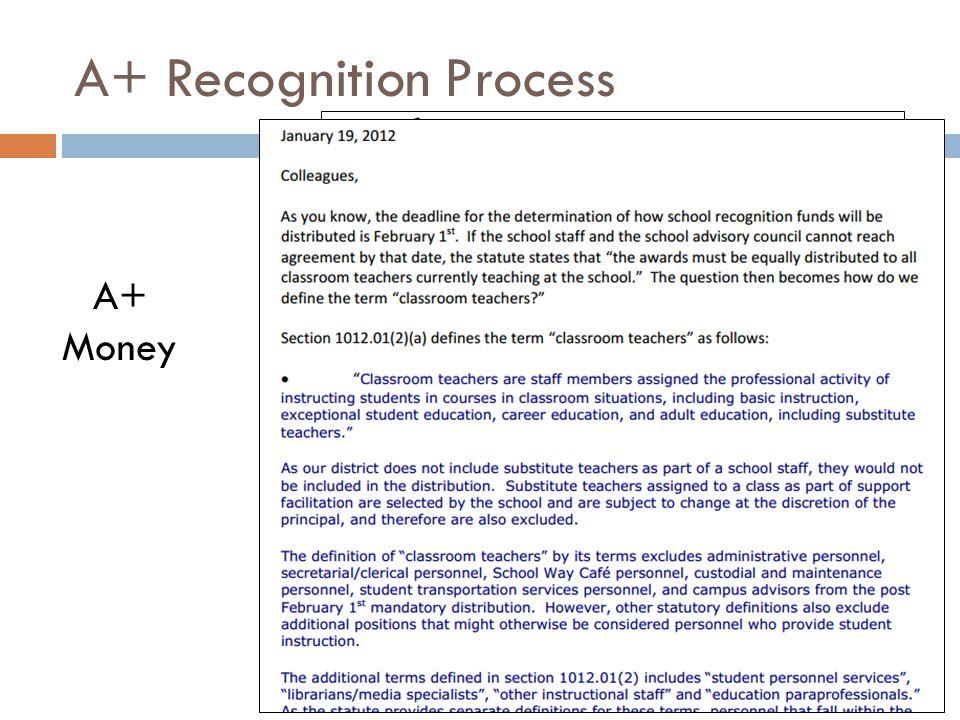 A+ Recognition Process A+ Money