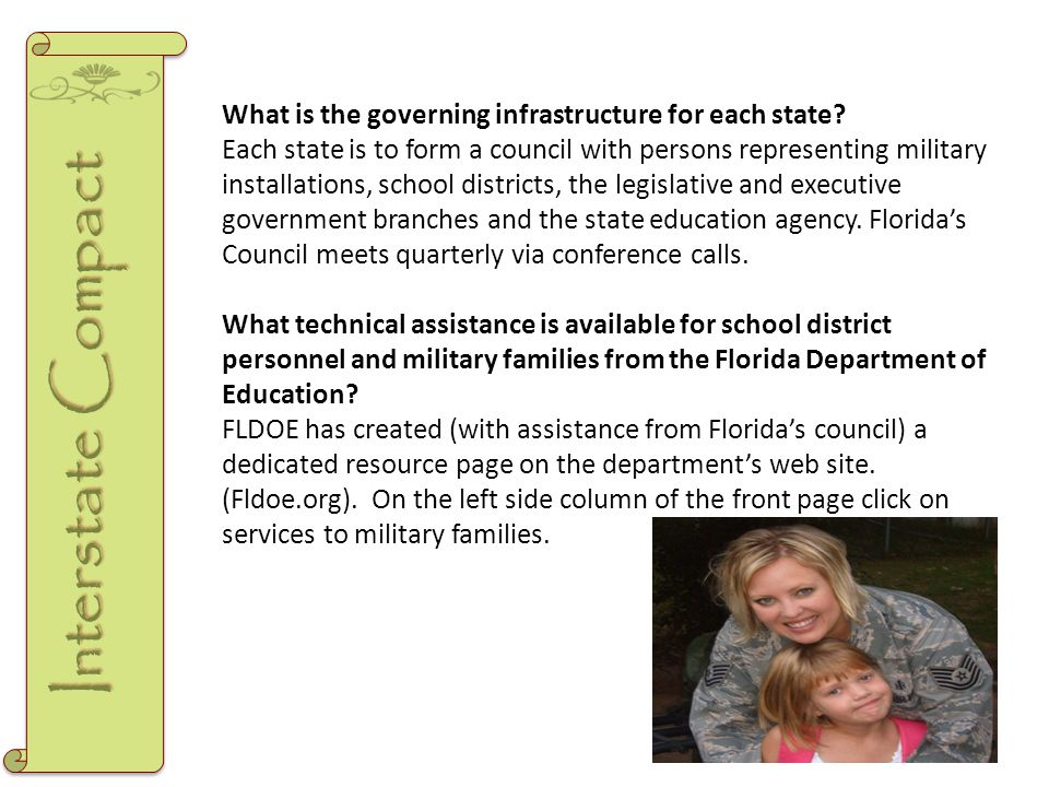 What is the governing infrastructure for each state? Each state is to form a council with persons representing military installations, school district