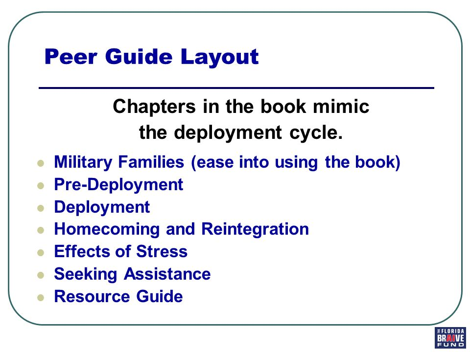 Chapters in the book mimic the deployment cycle.